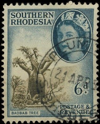 """Southern Rhodesia - 195? - Sg84 Cancelled """"plum Tree"""" Double Circle Date Stamp"""