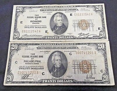(2) 1929 $20 Federal Reserve Bank Notes - Richmond & Philadelphia     (5681)