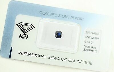Natural Sapphire 0,65ct Dark Blue Round Mixed Cut IGI Certificat sealed