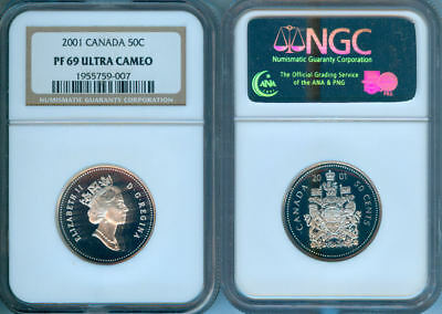 2001 Canada Silver Fifty Cents  Ngc Pf-69 Uc (Uhc)