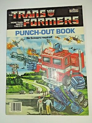 Vintage 1985 Hasbro Transformers G1 Punch-Out Book Marvel Books UNPUNCHED!