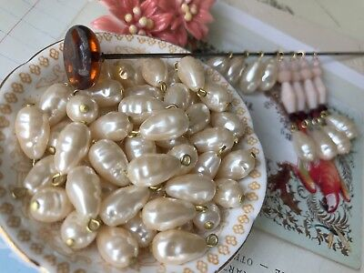 Vintage Baroque pearl drops, lucite pearl charms, lucite drops, ivory #1286J
