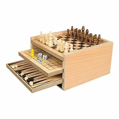 7 In 1 Wooden Game Set - Play Backgammon,draughts,chess,ludo,snake   Ladders,nou
