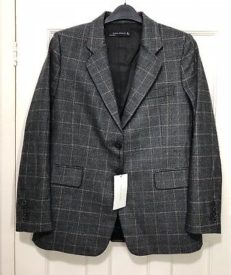 Zara Aw17 Dark Grey Checked Jacket Blazer  Lapel Collar Size L Bnwt Rrp£90