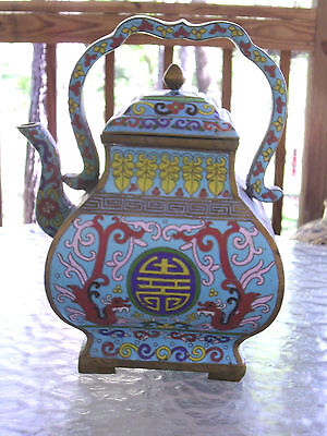 Rare! Museum Quality Large Chinese Cloisonne Teapot Kettle Enameled Bronze/brass