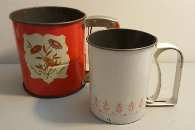 Vintage ANDROCK Floral Metal Tin Flour Sifter - Lot of 2 -- Red & White