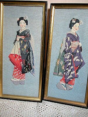 2 Vintage Needle Point Art Pictures of Asian Geisha Ladies Glass covered 17 X 8""