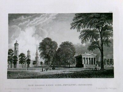 Stahlstich - Yale College and State House, New Haven, Connecticut