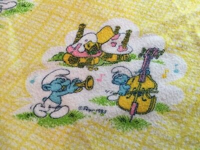 SMURFS VINTAGE FLANNEL RECEIVING BLANKET by DUNDEE