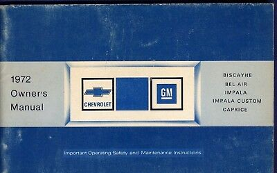 RF1090 1972 72 Chevrolet Chev Chevy Owners Manual