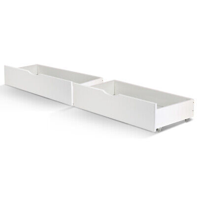 2x Wooden Trundle Under Bed Frame Base Storage Drawers Pine Wood Timber Wheels
