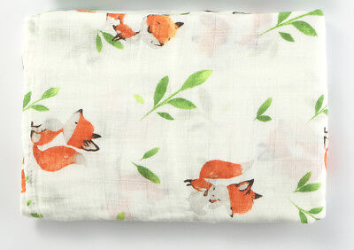Muslin Swaddle Blankets Fox Infant Receiving Blanket Soft Bamboo 47x47""