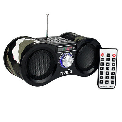 TIVDIO Camouflage Stereo FM Radio TF Card Speaker MP3 Music Player AU LOCAL SHIP
