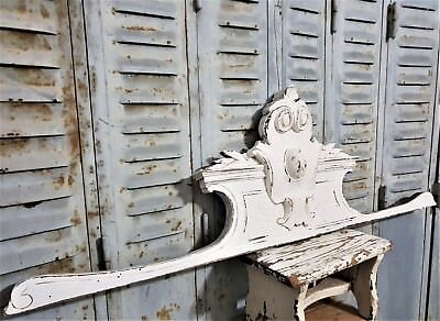 Architectural painted cottage pediment Antique french wooden salvaged furniture