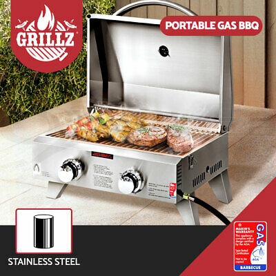 Grillz Portable Gas BBQ 2 Burners Heater Stainless Steel Outdoor Camping Cooking