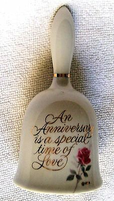 """Designers  Collection  Anniversary Keepsake  5 """" Tall  Porcelain Bell  With Rose"""
