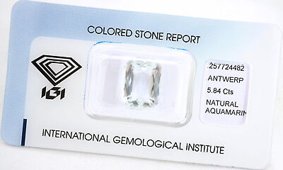 Natural Aquamarine 5,84ct Light Greenish Blue Cut Cornered IGI Certificat sealed