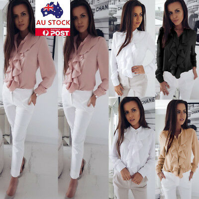 AU Women Long Sleeve Ruffle Plain Button Shirt Tops Casual OL Office Blouse Tee