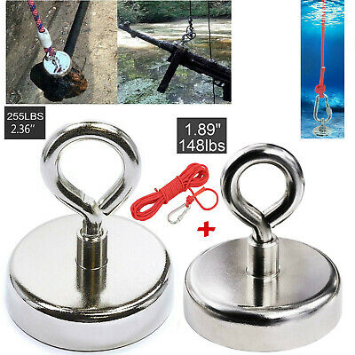 255 LB pull Super Strong Rare Earth Round Neodymium River Fishing Magnet Eyebolt