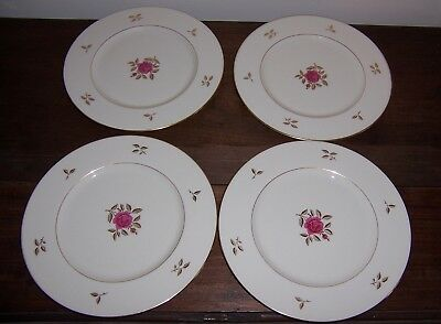 "4 Dinner Plate (s) 10-1/2"" - RHODORA by Lenox USA - Red Rose w/ Gold Trim Leaves"