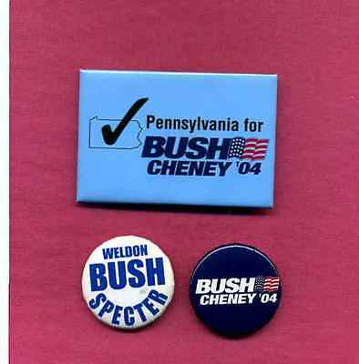 GEORGE W BUSH (Bush '43) POLITICAL BUTTONS PA COATTAIL w/Bonus Buttons # 368