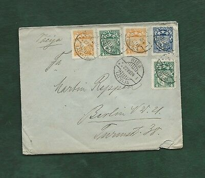 Latvia Latvija 1924 5 stamps on old used cover Riga to Berlin