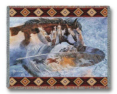 Throw Tapestry Afghan - Horsefeathers 4310