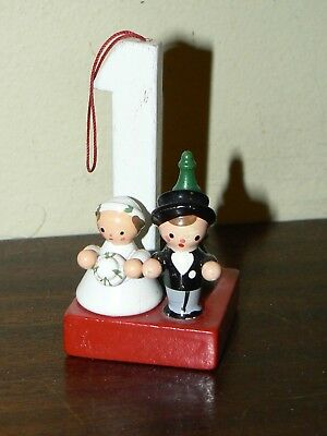 VINTAGE WOODEN CHRISTMAS ORNAMENT  Italy Bride & Groom 1st Anniversary
