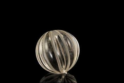 OLD LARGE CHINESE CARVED ROCK CRYSTAL MELON SHAPE BEAD 24 mm D95-11
