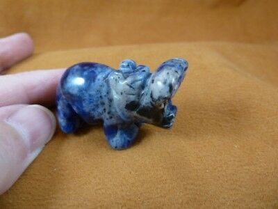 Y-HIP-573 little blue gray HIPPO Hippopotamus stone Gemstone carving love hippos