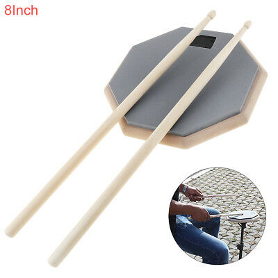 "8"" Soft Rubber Dumb Drum Pad Drum Practice Pad Mat Plate Drumming with Sticks"