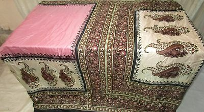 Pink Cream Pure Silk 4 yard Vintage Sari GIFT Gift for Mother Woman Store #988TG