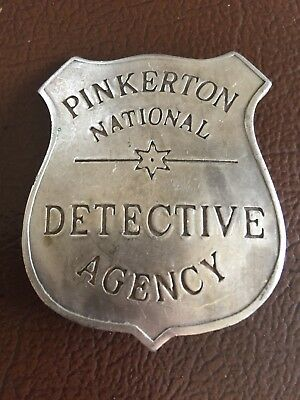 Pinkerton Detective Badge Solid Metal Patina Silver Finish Antique Style Western