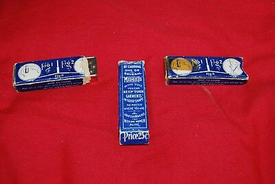 3 Early Folding  ` Midget ` Metal Coat Hangers In Original Boxes Look Unsed