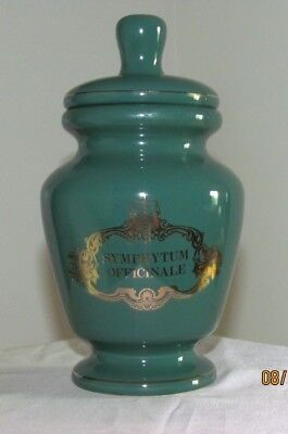 """Vintage Apothecary Jar ~ Symphytum Officinale """"Comfrey"""" ~ Green with Gold"""