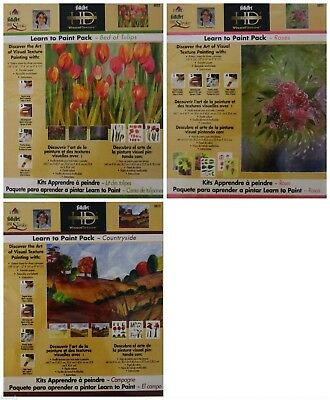 Learn to Paint Donna Dewberry One Stroke Lot of 3 Tulips, Roses, Countryside
