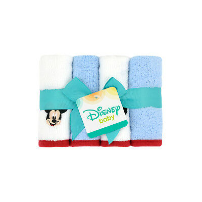 NEW Disney Baby Boys Mickey Mouse 4 Pack Soft Washcloths 9x9  Great Shower Gift