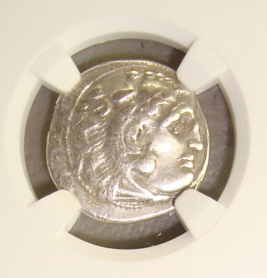 305-281 BC Kingdom of Thrace Lysimachus Ancient Greek Silver Drachm NGC Ch VF