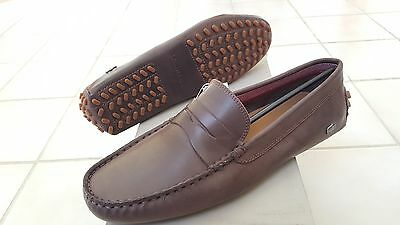 bd4da1029 Lacoste Concours 16 Men Casual Moccasins Leather Loafer Shoes US10.5 EUR44  Brown