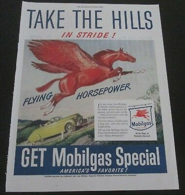 "1947 original ad Mobil Gas & Oil Flying Red Horse ""Take the Hills in Stride"""