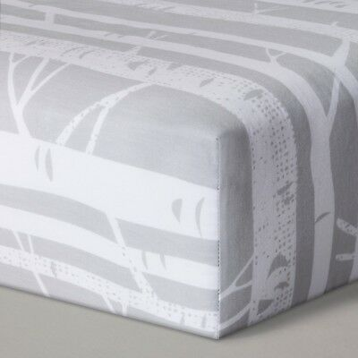 Cloud Island TREES Gray/White Fitted Crib Sheet 100% Cotton Woven 200TC