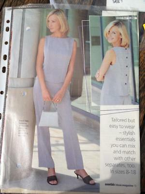 Essentials Sewing Pattern September 1999 Tailored Top & Trousers Sizes 8-18