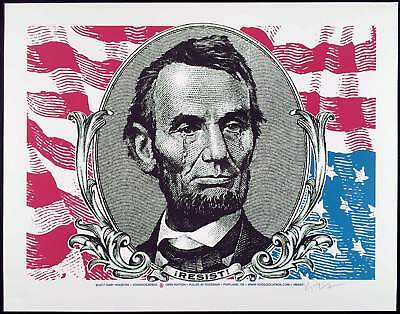 Weeping Abe Lincoln Resist! Poster Original Hand-Signed Silkscreen Gary Houston