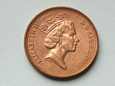 UK (Great Britain) 1995 TWO PENCE (2p) Queen Elizabeth II Coin AU RED LUSTRE