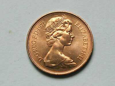 UK (Great Britain) 1971 TWO PENCE (2p) Queen Elizabeth II Coin UNC RED Lustre