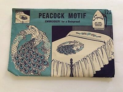 Vintage Superior Embroidery Hot Iron Transfer Peacock Motif