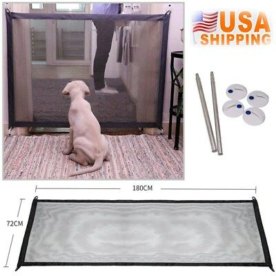 Magic Mesh Pet Dog Gate Door Barrier Safe Guard Fence Enclosure Easy Install US