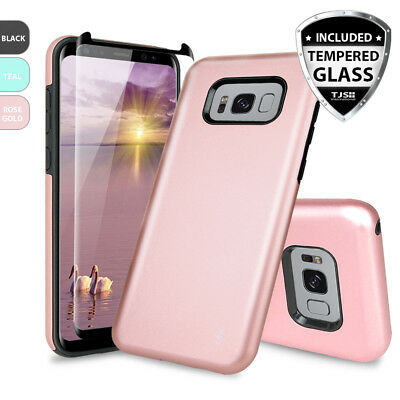 For Samsung Galaxy Note 8 S8 /S8 Plus Protective Phone Case Cover+Tempered Glass