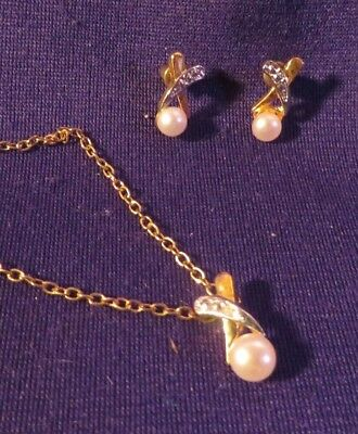 """Vintage Two Tone Faux Pearl Pendant & Earring w 18"""" Gold Tone Chain Necklace Set"""