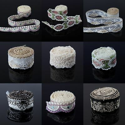 3 Yds Embroideried Floral Tulle Lace Trim Wedding Dress Ribbon Doll DIY Sewing